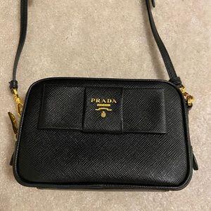 Prada nero saffiano bow tie cross body mini bag